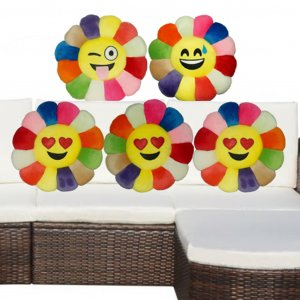 Kuber Industries Feather Emoji Smiley Cushion 40x40 CM (Multi) Set of 5 Pcs-CTKTC1509