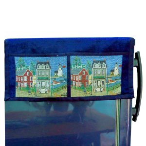 Kuber Industries™ Large Fridge Top Cover Suitable for 300 to 400 Ltr in Blue Printed Velvet