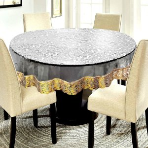 "Kuber Industries PVC Waterproof 6 Seater Round Table Cover with Golden Lace 72"" x 72""  (Gold)-CTKTC3543"