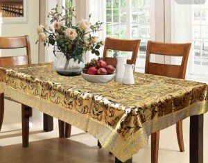 Kuber Industries™ Waterproof Dining Table Cover 6 Seater 60*90 Inches (Exclusive Shining Golden Design With Golden Lace)