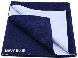"Kuber Industriesâ""¢ Waterproof Baby Bed Protector, Dry Sheet, Reusable Mat Large Size 100*70 Cm (Navy blue) KI07008"