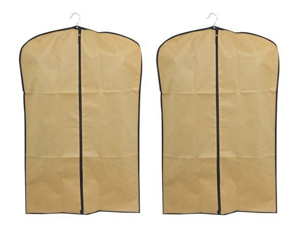 Kuber Industries™ Men's Coat Blazer cover Foldover Breathable Garment Bag Suit cover Set of 2 Pcs- Cream