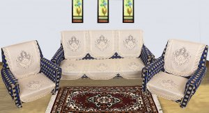 Kuber Industries Shining Floral Design 6 Pieces Cotton 5 Seater Sofa Cover (Cream)-CTKTC1284
