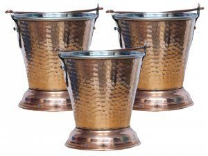Kuber Industries Handmade Hammered Copper Steel /Copper Gravy Bucket/Balti Set of 3 Pcs For Serving Dishes (Height: 5 Inches Width: 4 Inches Depth: 2.5 Inches) (Buck200)