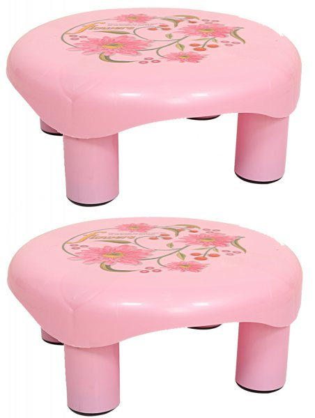 Kuber Industries Plastic Floral Bathroom Patla/Stool (Pink) Set of 2 Pcs