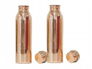 Kuber Industries 100% Pure Handmade Copper Bottle-750 ML, Leak Proof & Joint Free for Ayurvedic Health Benefits- Set of 2 Pcs (Bottle18)