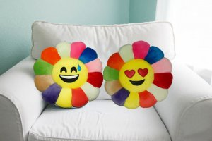Kuber Industries Feather Emoji Smiley Cushion 40x40 CM (Multi) Set of 2 Pcs-CTKTC1503