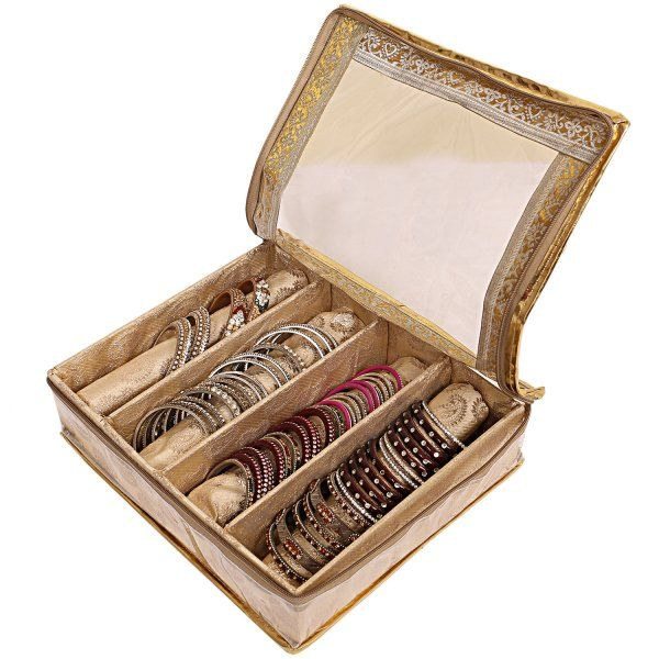 Kuber Industries Brocade 4 Rod Bangle Box, Golden Set of 1 Pc