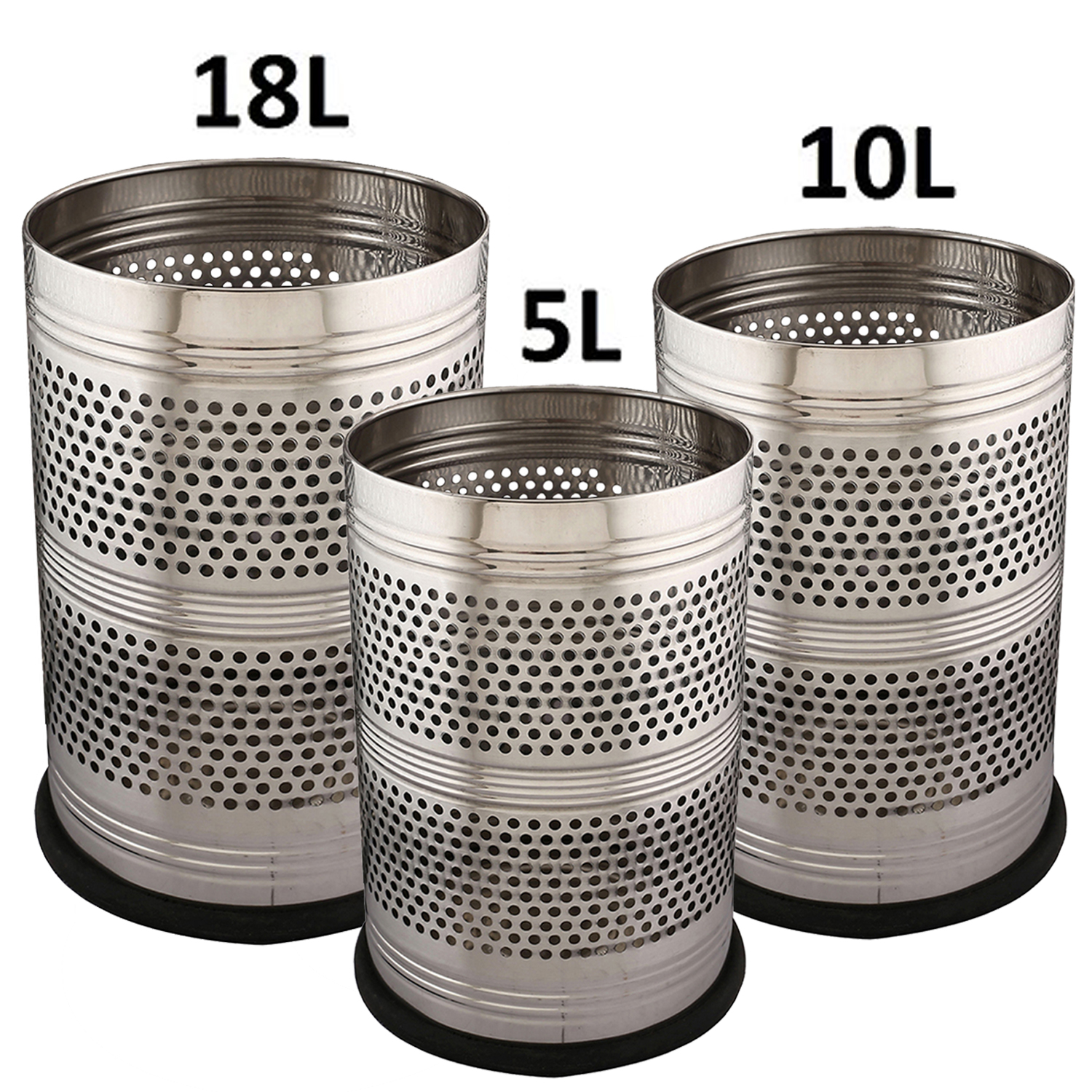 Kuber Industries Stainless Steel 3 Pieces Big, Medium & Small Size Garbage Dustbin Set (Silver)-CTKTC3630