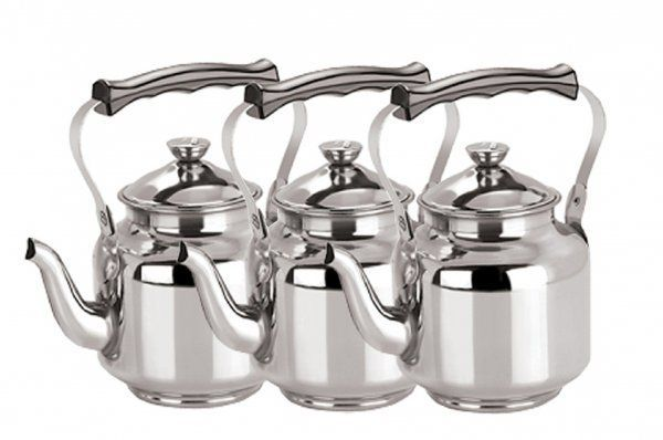 Kuber Industries™ Stainless Steel Tea Kettle,Serving Tea Kettle,Hot Water Kettle Set of 3 Pcs Capacity upto 16 Cups