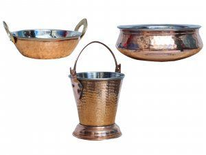 Kuber Industries Handmade Hammered Copper Steel /Copper Gravy Bucket/Balti 1 Pcs with 1 Handi Bowl and 1 kadai (Total 3 Pcs Set)For a Vegetable Dish serving Restaurant Ware Hotel Ware Home Gift  (Buck28)