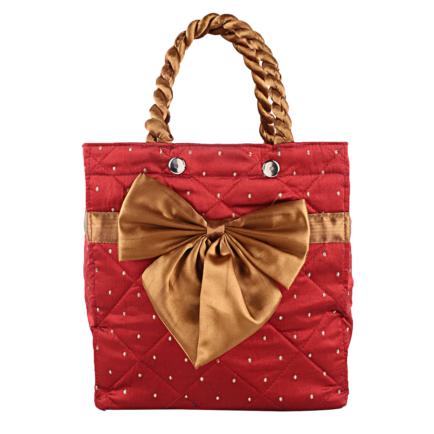 Kuber Industries Satin 1 Piece Women Hand Bag (Maroon)-CTKTC3756