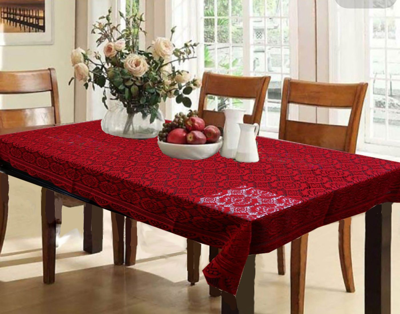 """Kuber Industries™ Dining Table Cover Maroon Cloth Net For 6 Seater  60*90 Inches (Self Design) """