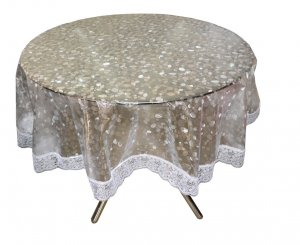 "Kuber Industries PVC Waterproof 4 Seater Round Table Cover with Silver Lace 60"" x 60"" (Silver)-CTKTC3547"