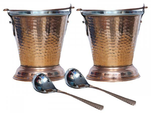 Kuber Industries Handmade Hammered Copper Steel /Copper Gravy Bucket/Balti 2 Pcs with 2 serving Spoons  For Serving Dishes (Buck14)