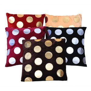 Kuber Industries™ Luxurious Velvet Dots Cushion Cover Set of 5 - Multicolor - 16*16 Inches