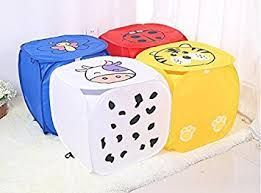 Kuber Industries Square Laundry Basket Set Of 4 Pcs Combo (Color & Print Might be Vary As Per Availability) LMESH13
