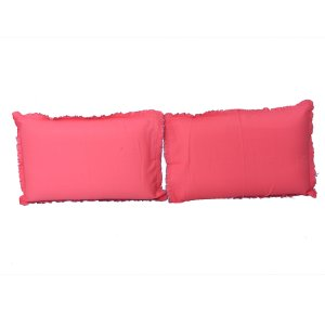 "Kuber Industriesâ""¢ Solid Plain Premium Cotton Pillow Cover with Frill Flange,Set of 2 - Baby Pink - KU80"