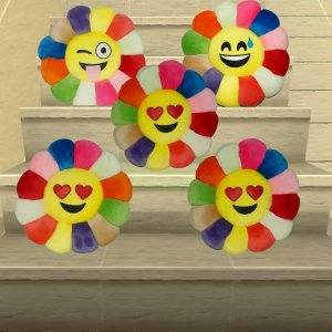 Kuber Industries Feather Emoji Smiley Cushion 40x40 CM (Multi) Set of 5 Pcs-CTKTC1506