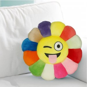 Kuber Industries Feather Emoji Smiley Cushion 40x40 CM (Multi) Set of 1 Pc-CTKTC1500