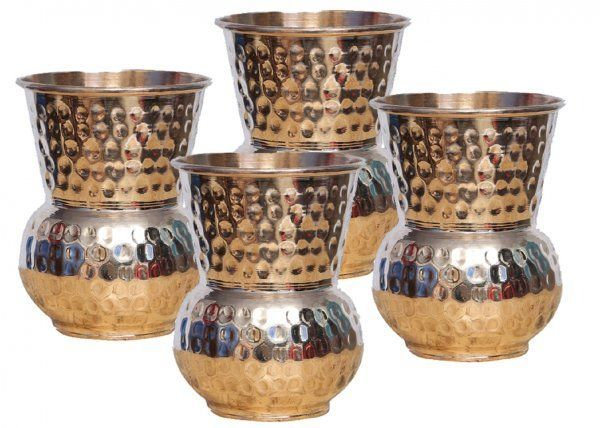 Kuber Industries Hammered Copper Mughlai/Dholak/Drinking Glass/Cup Tumbler Drinkware, Serveware Set of 4 Pcs (Dholak18)