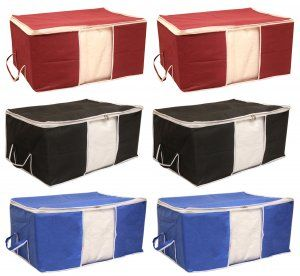"""Kuber Industries Non Woven Underbed Storage Bag, Extra Large Set of 6 Pcs, Black,Maroon,Royal Blue """