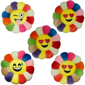 Kuber Industries Feather Emoji Smiley Cushion 40x40 CM (Multi) Set of 5 Pcs-CTKTC1507
