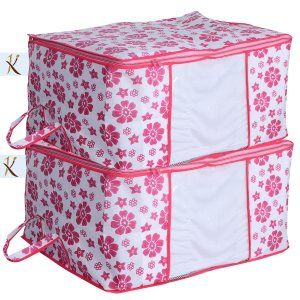 Kuber Industries™ Underbed Storage Bag,Storage Organiser,Blanket Cover Set of 2 Pcs - Pink Flower Design (Extra Large Size)