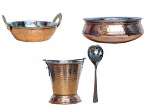 Kuber Industries Handmade Hammered Copper Steel /Copper Gravy Bucket/Balti 1 Pcs with 1 Handi Bowl and 1 kadai & 1 Serving Spoon (Total 4 Pcs Set)For Serving Dishes (Buck31)