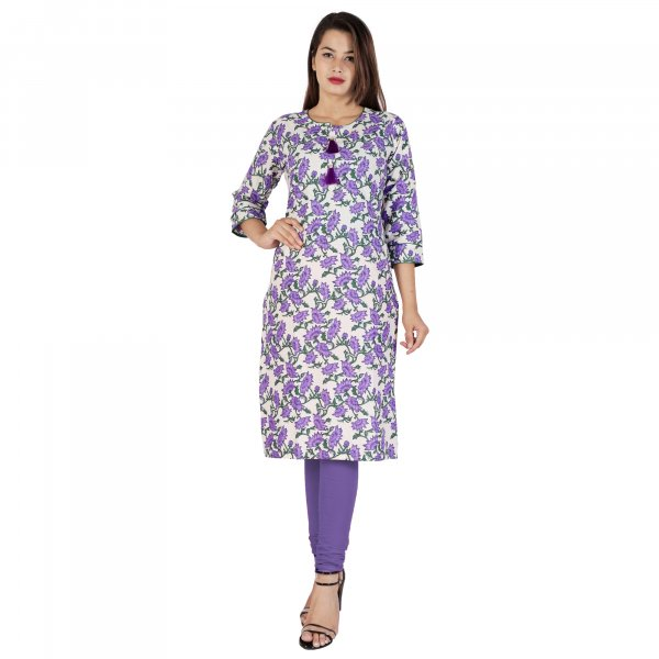 Kuber Industries Women Floral Print Straight Kurta  (Purple)