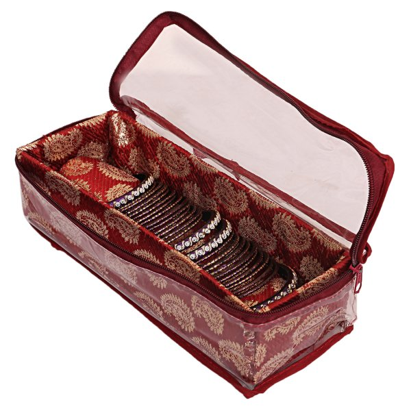 Kuber Industries Wooden 1 Rod Bangle Box (Maroon) Set of 1 Pc
