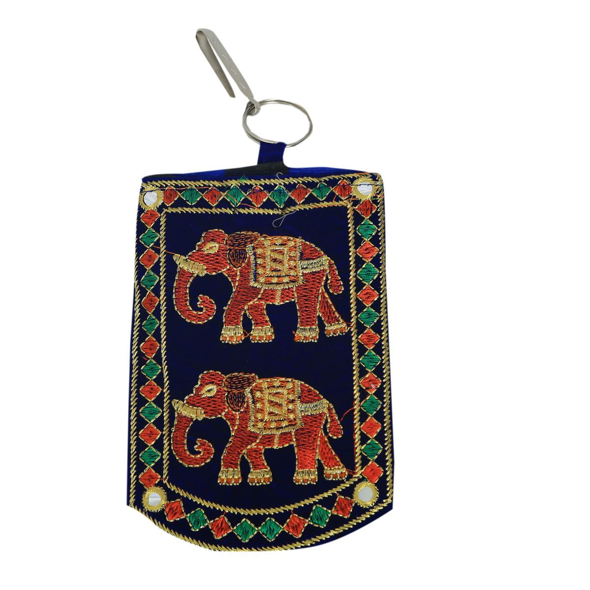 Kuber Industries™ Designer Embroided Mobile-Phone Pouch Cover With Purse Pocket And Sari Hook For Women (Blue) - BG77