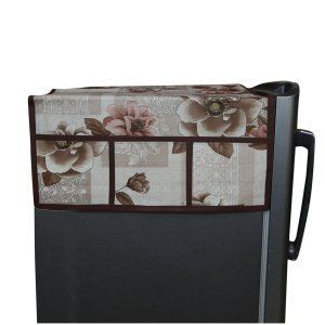 Kuber Industries™ Brown Fridge Top Cover In Waterproof Material (Exclusive Rose Design) KIC11