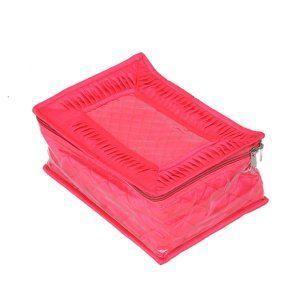 """Kuber Industriesâ""¢ Locker Jewellery Kit, Box In Velvet Quilted Material With 12 Pouches (Pink) -KI19447 """