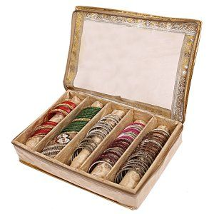 Kuber Industries Brocade 5 Rod Bangle Box, Golden Set of 1 Pc
