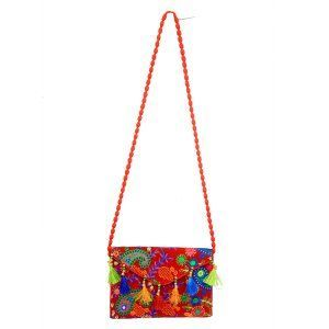 Kuber Industries™ Embroided Sling bag Handmade Ethnic Vintage Banjara Clutch - BG17