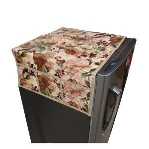 Kuber Industries™ Cream Fridge Top Cover In Waterproof Material (Exclusive Flower Design) KIC04