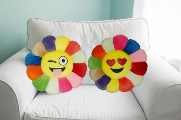 Kuber Industries Feather Emoji Smiley Cushion 40x40 CM (Multi) Set of 2 Pcs-CTKTC1504