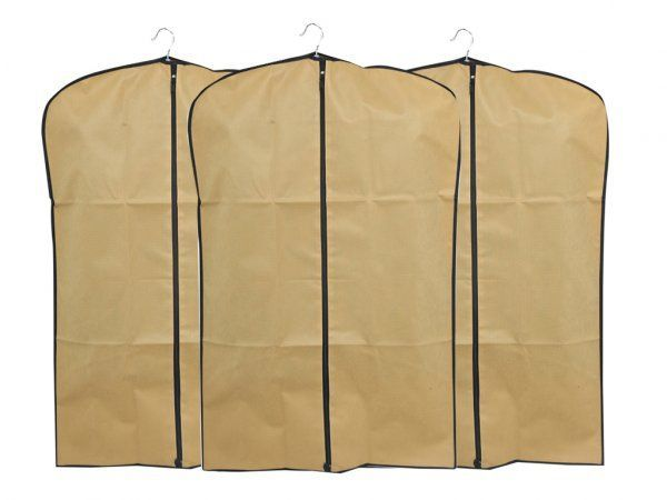 Kuber Industries™ Men's Coat Blazer cover Foldover Breathable Garment Bag Suit cover Set of 3 Pcs- Cream