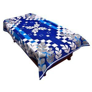 Kuber Industries™ Center Table Cover Royal Blue Cotton Fabric in Floral Design 40*60 Inches (Exclusive Design)