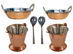 Kuber Industries Handmade Hammered Copper Steel /Copper Gravy Bucket/Balti 2 Pcs with 2 kadai and 2 serving Spoons For Serving Dishes (Buck40)