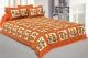 Kuber Industries Cotton 144 TC Double Bedsheet with 2 Pillow Covers (Orange)Dandiya Design