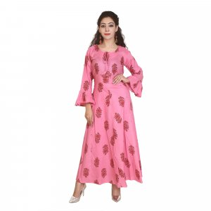 Kuber Industries Women Printed Anarkali Kurta  (Pink)