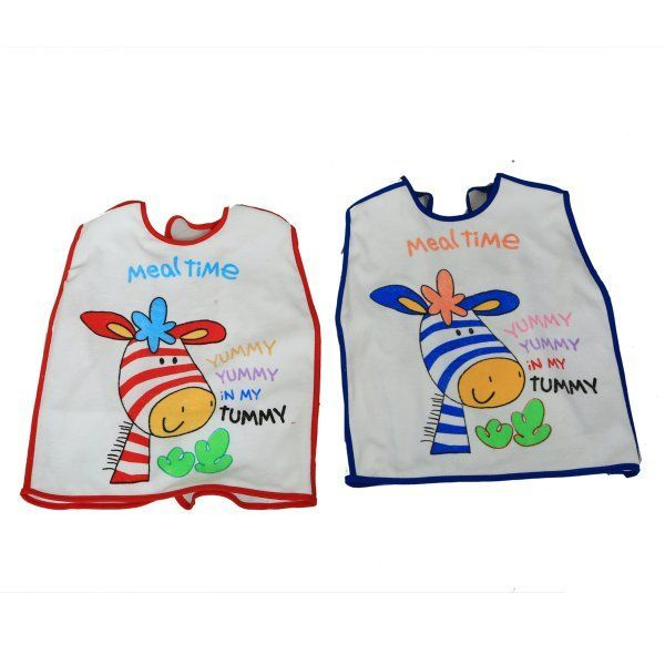 "Kuber Industriesâ""¢ T-shirt Style Knot Closure Saliva Towel Burp Cloth Baby / Infant / Kids Terry Feeding Bib - 2 to 5 Year - Set of 2"