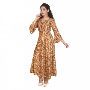 Kuber Industries Women Printed Flared Kurta  (Multicolor)