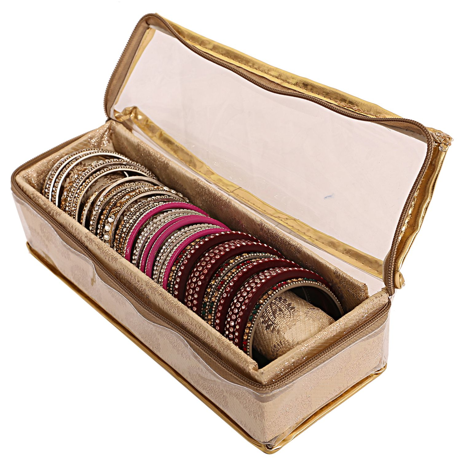 Kuber Industries Brocade 1 Rod Bangle Box, Golden Set of 1 Pc