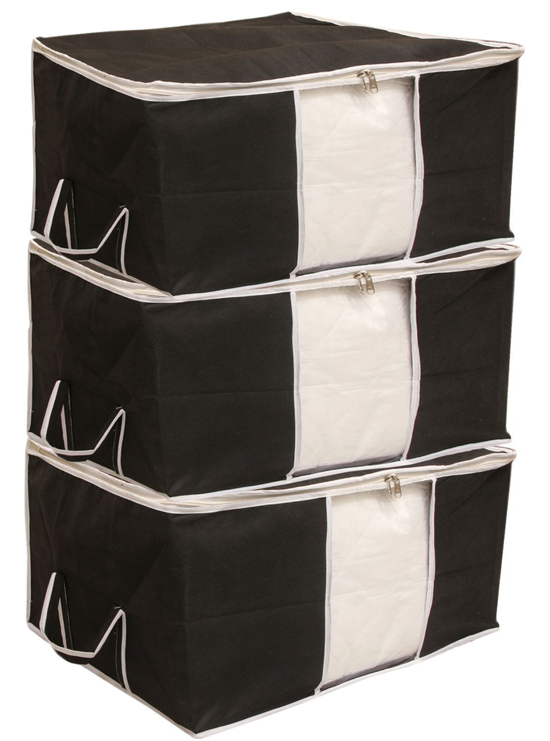 """Kuber Industries Non Woven Underbed Storage Bag, Extra Large Set of 3 Pcs, Black """