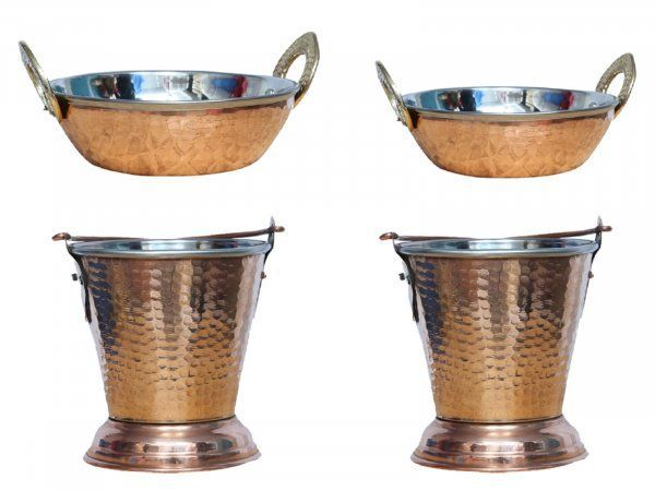 Kuber Industries Handmade Hammered Copper Steel /Copper Gravy Bucket/Balti 2 Pcs with 2 kadai For Serving Dishes (Buck36)