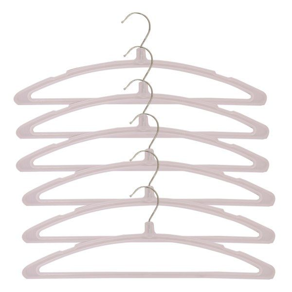 Kuber Industries Plastic Hanger For Suit,Cloth Set of 6 Pcs,White