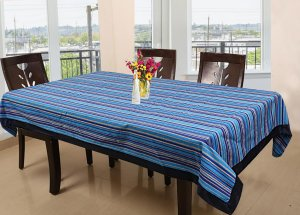 Kuber Industries Lining Design Cotton 6 Seater Dining Table Cover 60x90 Inches (Blue)-CTKTC1236